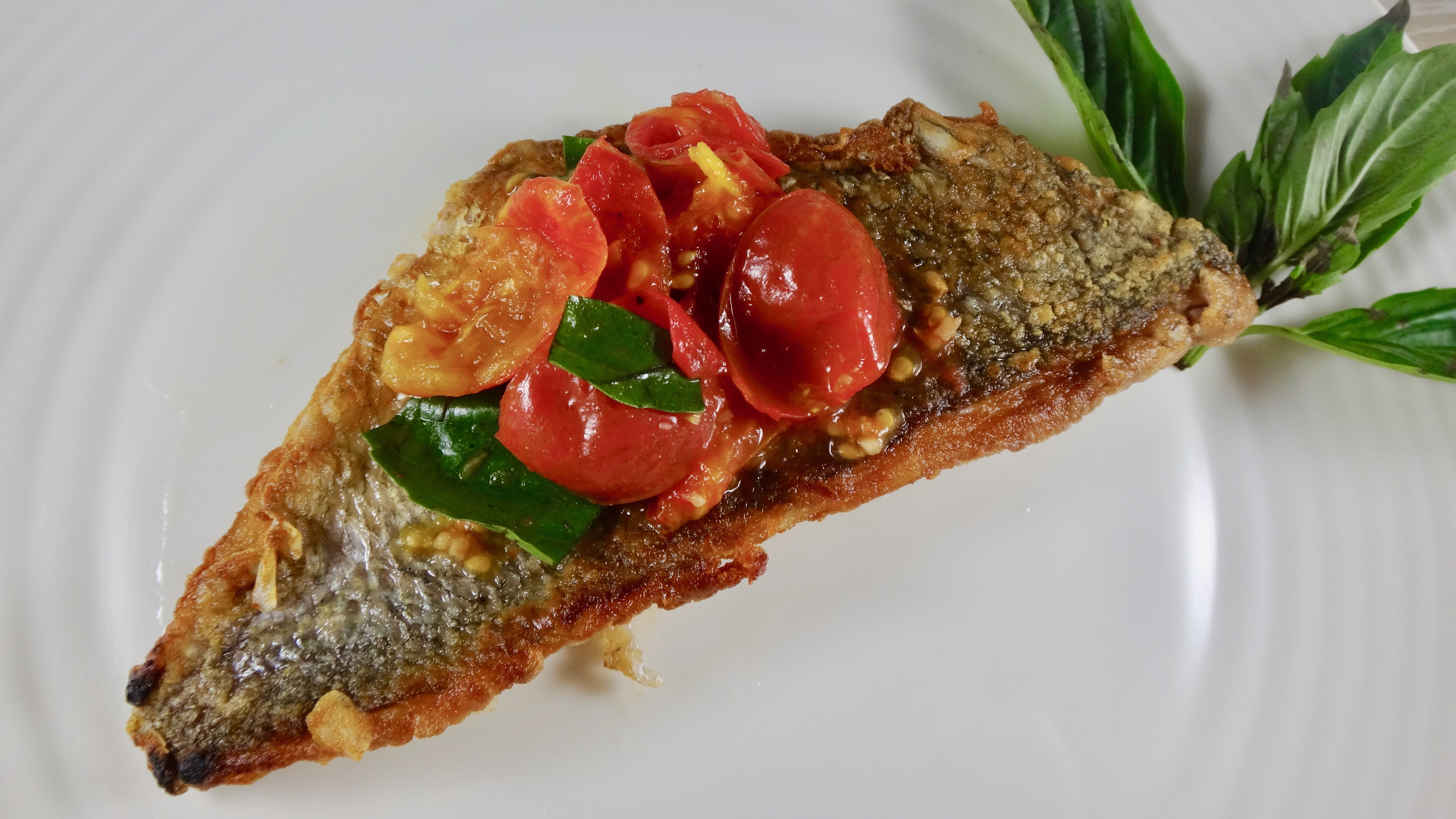 Pan fried porgy with tomatoes basil a wholesome new world for Porgy fish recipe